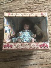 Genuine Fine Bisque Poseable Porcelain Petites Doll with Dress. Hand Painted.