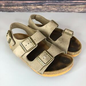BIRKENSTOCK Kids Girls Boys Grey Leather Strappy Sandals Shoes Size 28 UK 10