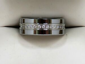 VERY NICE Men's Tungsten and CZ Accent Comfort-Fit 8mm Wedding Band Sz 8