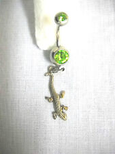 STERLING SILVER DETAILED TINY GECKO CHARM LIME GREEN CZ BELLY BAR NAVEL RING