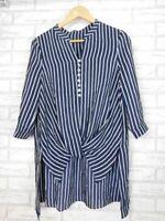 Women's 100% silk top Navy blue, white stripe 3/4 sleeves Sz S, 10 High low hem