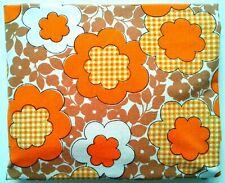 Vtg Simpson's FULL FITTED Bedsheet 70's Retro Flower Power Orange Brown Defects
