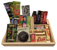 Deluxe Wooden Tray Gift Set - Packed With Products - Papers - Tips - 25 Items