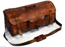 Large Vintage Genuine Leather Holdall Travel Weekend Cabin Sports Duffel Bag.