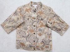 Charter Club Dress Jacket Coat Brown White Woman's Button Front P Petite Blazer
