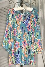 NEW~Plus Size 1X Blue Aqua Pink Floral Spense Smocked Pleated Top Shirt Blouse