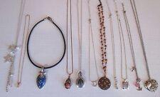 LOT of 11 Multi Color Rhinestone cabochon Necklaces silver gold tone un/signed