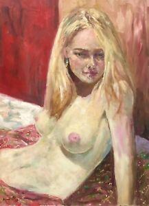 "Listed Artist 18""X24"" Nino Pippa Original Oil Painting Nude Of Woman COA"