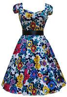 LADIES 40'S 50'S VINTAGE STYLE VIBRANT FLORAL PROM  PARTY TEA CIRCLE DRESS 8-18