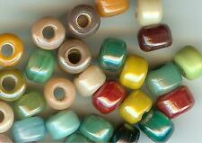 CROW/PONY GLASS BEAD - OPAQUE LUSTER -  9mm - MIX - (100)