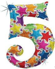 """(1) Number FIVE #5 5th BIRTHDAY Party HOLOGRAPHIC Mylar Helium Balloon 40"""""""