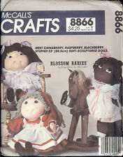 """Vintage 1983 McCall's Crafts BLOSSOM BABIES DOLLS w/ Clothes Pattern - 23"""" Tall"""