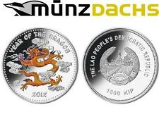 1000 KIP Lunar 1 oz Silver Coloured Year of the Dragon Laos 2012 Proof