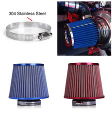 75mm 3'' Inlet Mushroom Head Blue Cold Air Intake Filter Pipe Cleaner Car Truck
