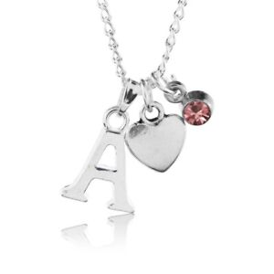 Birthstone Heart Necklace October Silver Plated Initial Letter Alphabet A-Z 18""