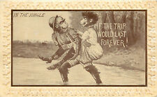 Postcard Ugly Monkies Courting in Jungle If The Trip Could Last Forever Embossed