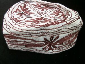 Sindhi Embroidery Hat Middle Eastern Turkish Topi Boys Cap Brown