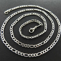 Necklace Pendant Chain Real 925 Sterling Silver S/F Solid Figaro Link Design 22""