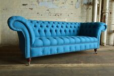 MODERN HANDMADE 3 SEATER CERULEAN BLUE WOOL CHESTERFIELD SOFA COUCH CHAIR
