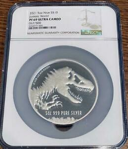 2021 5oz $10 Jurassic World™.999 Silver NGC Proof 69 UCAM #67 In hand!!