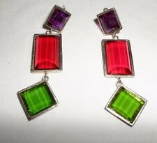 Les Bernard Signed Haute Couture Runway Huge Faceted Glass Clip Earrings