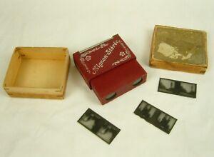 Antique Very Compact Mignon Stereoscope in Original Box + Three Slides