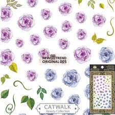 Purple Rose Flower Floral Nail Art Stickers Manicure Decals USA SELLER FAST SHIP