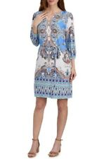 LUXOLOGY Woman's Large Peri Coral Mint Bohemian Mirror Print Belted Shirt Dress