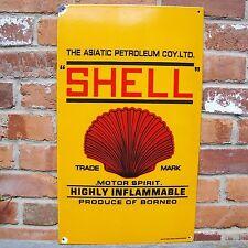 SHELL PETROLEUM MOTOR SPIRIT enamel sign oil vitreous advertising NOS VAC159