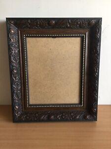 """Vintage Deep Ornate Carved Dark Wood Picture Photo Frame Oak Effect 14"""" X 12"""""""