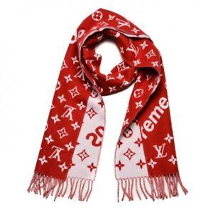 Louis Vuitton Supreme Red/White Silk/Wool Scarf