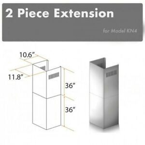 ZLINE 2 Piece Chimney Extension for 10 ft. to 12 ft. Ceilings. 2PCEXT-KN4. New