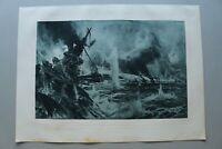 DG) Kunst Druck Seeschlacht vor Skagerrak am 31. Mai 1916 1923 nach Willy Stöwer