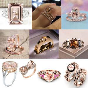 Fashion 925 Silver,Rose Gold Ring Women Morganite Wedding Jewelry Gift Size 6-10