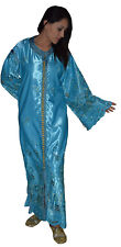 Moroccan Womens Caftan Takchita Handmade Dress With Embroidery Kaftan Light Blue