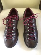 Prada Men's Vintage Bowling Shoes Lace Up Loafer Dark Brown Leather Red Laces 40