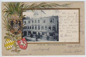 Goslar, Hotel Deutsches Haus, alte Präge-Litho-AK mit Wappen
