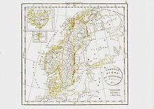 Carte : NORVEGE, SUEDE & DANEMARK -1834, 38 x 49 cm. Delamarche. Scandinavie