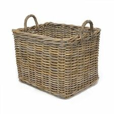 Rectangular Wicker Weave Log Storage Basket with Handle - Large, Grey