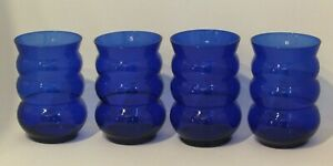 VINTAGE SET OF 4 COBALT BUBBLE FORM TUMBLERS OR DRINKING GLASSES
