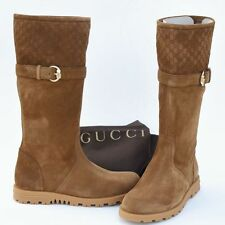 GUCCI New sz 40.5 G - 11 Designer GG Guccissima Riding Womens Shoes Boots Brown