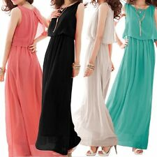Crew Neck Chiffon Casual Maxi Dresses for Women