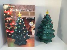 "Mr Christmas Nostalgic Tree 14"" Green LED Tabletop Porcelain Battery Operated"