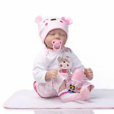 22inch Soft Silicone Reborn Baby Doll Realistic Sleep Girl Newborn Birthday Gift