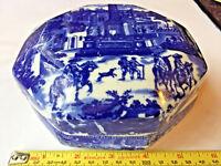 Ironstone Blue Flow Octagon Antique Box Porcelain South of the border landscape