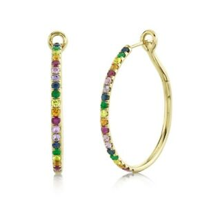 14K Gold Multi Color Rainbow Gemstone Hoop Earrings Round Cut Natural