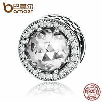 Bamoer Authentic S925 Sterling Silver Charm With Clear Stone Fitting Bracelets