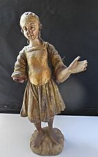 Antique Finely Carved Wood Religious Expressive Santos Remnant Gold Leaf Mexico