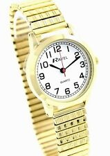 Ravel Ladies Big Number Minute Rim Watch Gold Tone Stretch Patterned Bracelet
