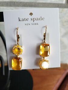 NWT - kate spade - shine on  - asymmetric double drop earrings- yellow multi-$58
